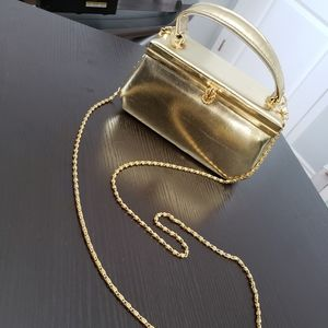 VINTAGE FARNELL Gold Box Clutch Purse with Mirror